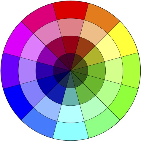 A typical color wheel showing hues tints shades and tones