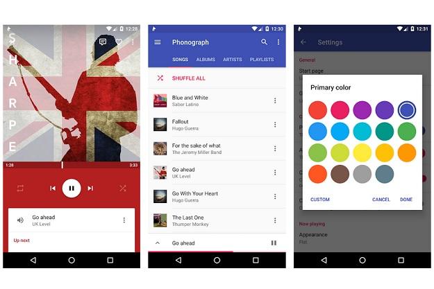 Phonograph - Ένα όμορφο πρόγραμμα αναπαραγωγής μουσικής για Android smartphones