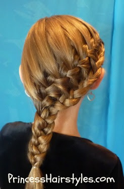 waterfall braid double ponytail