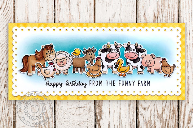 Sunny Studio Barn Animals Handmade Card (using Farm Fresh, Barnyard Buddies, Missing Ewe, Miss Moo, Happy Thoughts & Kinsley Alphabet Stamps + Slimline Scalloped Frame Dies)