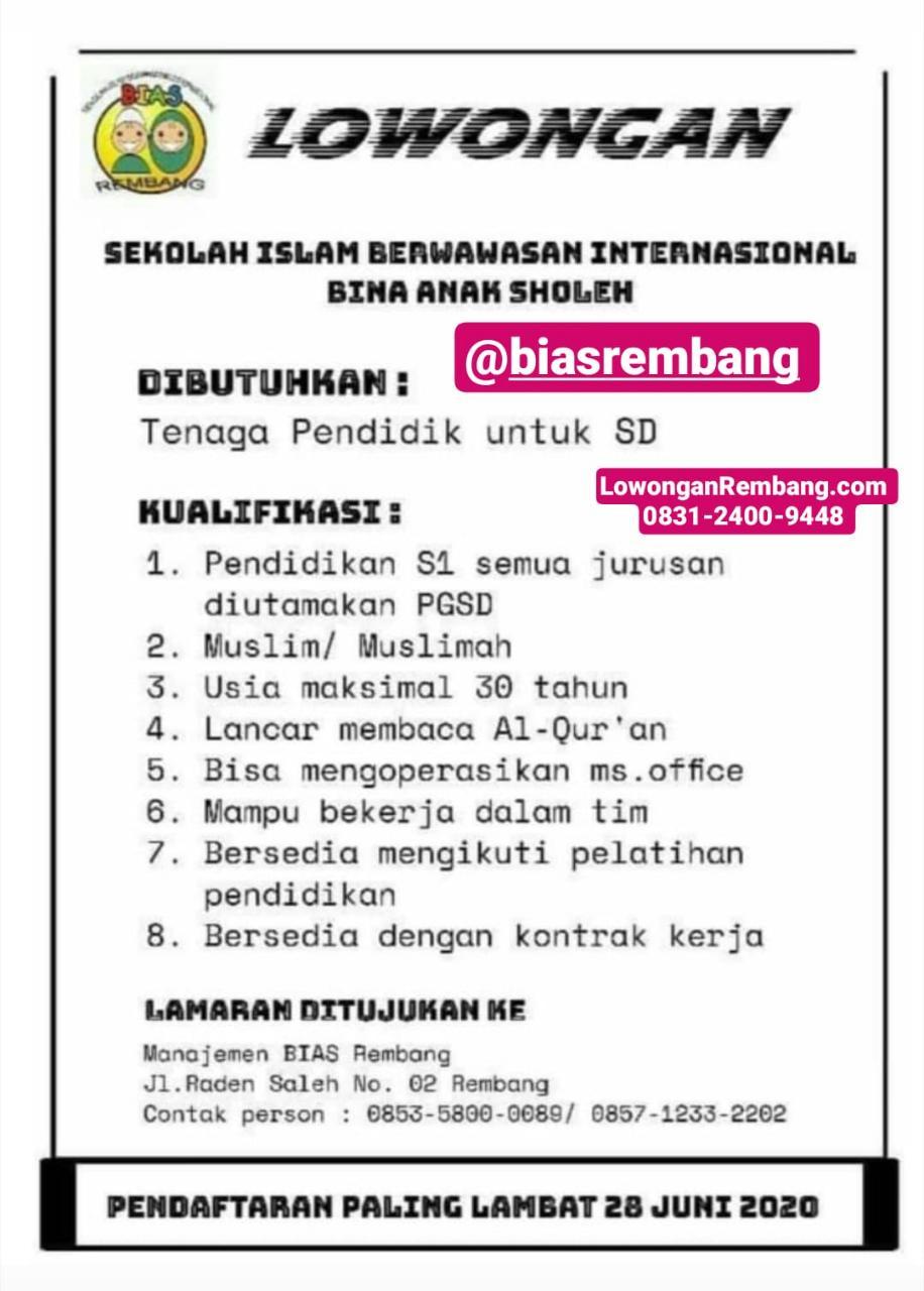Lowongan Kerja Tenaga Pendidik SD BIAS Rembang