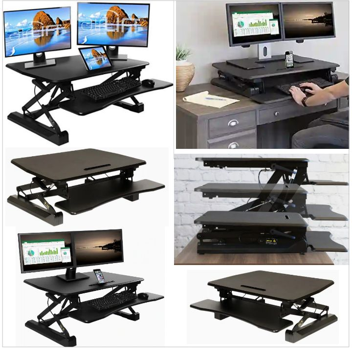 Airlift Workstation Riser by Seville Classics - Office Desk Raiser with Adjustable Height - Workspace Converter with Keyboard Tray and Holder for Mobile Gadget