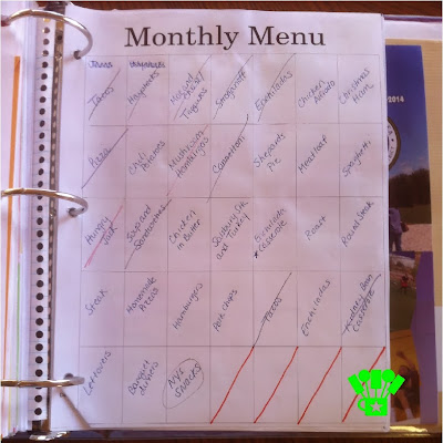 Household Management Binder with Menu Calendar