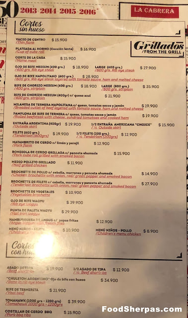 Menu from La Cabrera in Santiago, Chile