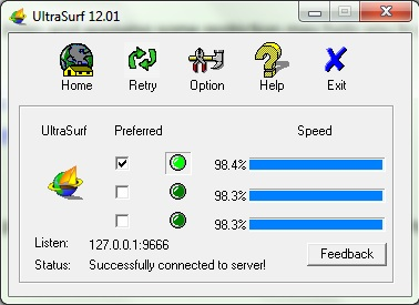 Screen shot of Ultra Surf: Intelligent Computing