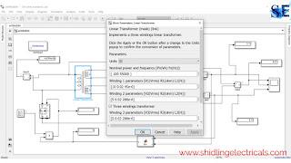 Linear transformer in matlab simulink