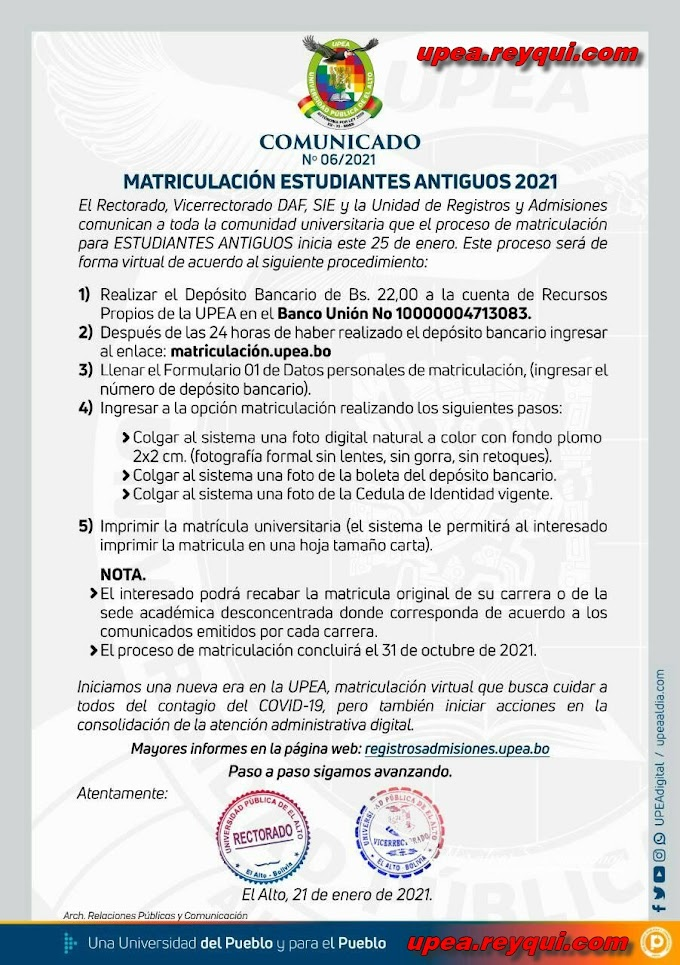 UPEA: Requisitos de Matriculación Estudiantes Antiguos 2021
