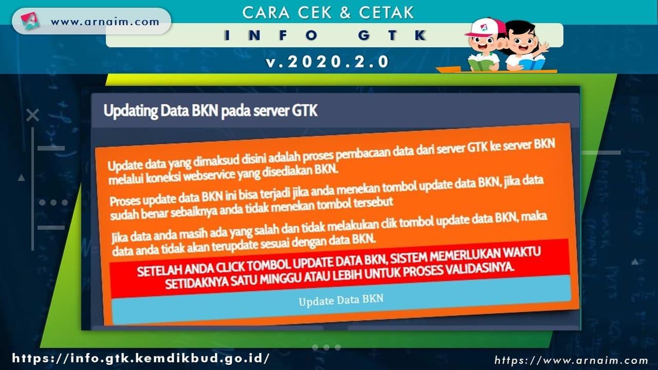 ARNAIM.COM - CARA CEK & CETAK INFO GTK v.2020.2 - UPDATE DATA BKN PADA SERVER GTK