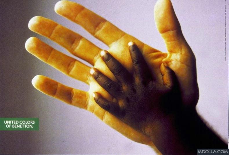 Campanha da Benetton no começo dos anos 90 com conceito de igualdade racial