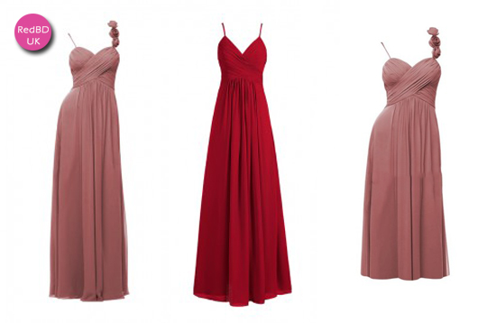 Nice spaghetti strap bridesmaid dresses in RedBD