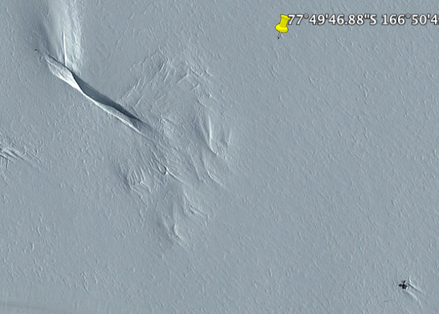 Image from 2014 supposedly where scientist huts were built in Antarctica.
