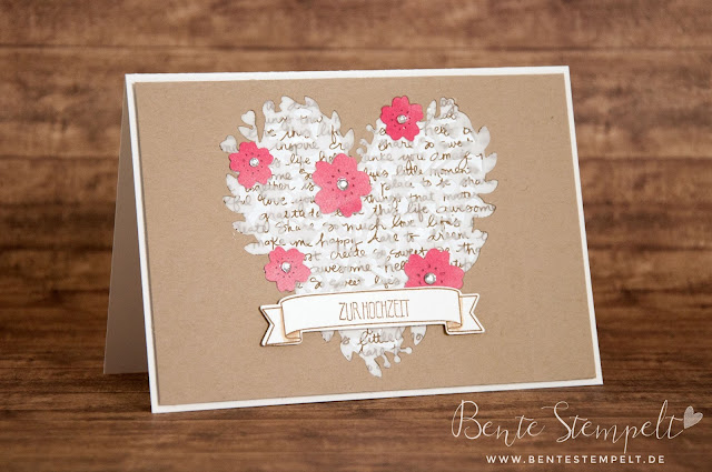 Stampin Up! Framelits blühendes herz blooming heart Hochzeitskarte wedding card invitation
