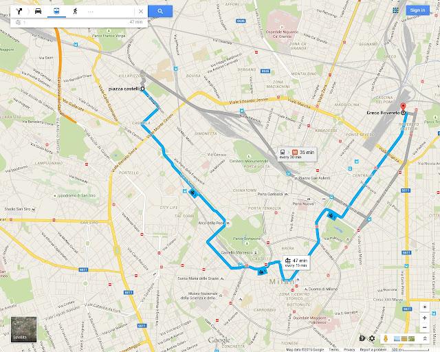 Milan Tram 1 interactive Google route map from Milano Centrale, downtown Centro Storico, Corso Sempione