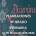 PLANEACION DICIEMBRE 3° PRIMARIA CICLO ESCOLAR 2019-2020.