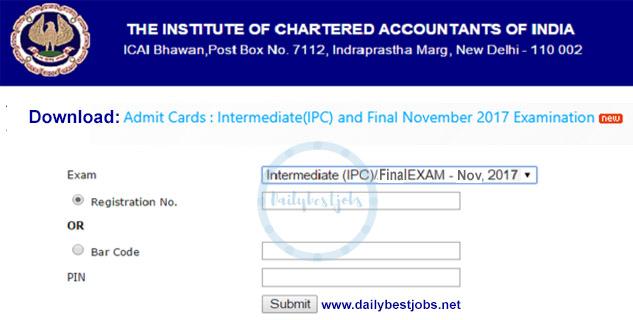 ICAI Admit Card IPCC Final