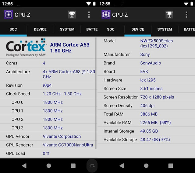 Sony NW-ZX500 CPU-Z