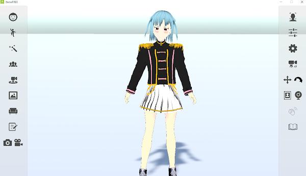 VRoidで製作した3Dモデルを「3teneFREE」で読み込ませた画面