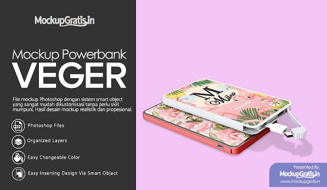 PSD Mockup Powerbank Custom VEGER Gratis