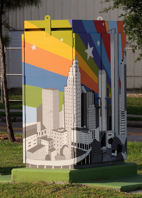 Utility Box Art: Downtown Houston Skyline with Colorful Rainbow