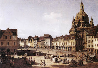 A view of the New Market Square in Dresden, painted by Bernardo Bellotto in about 1750