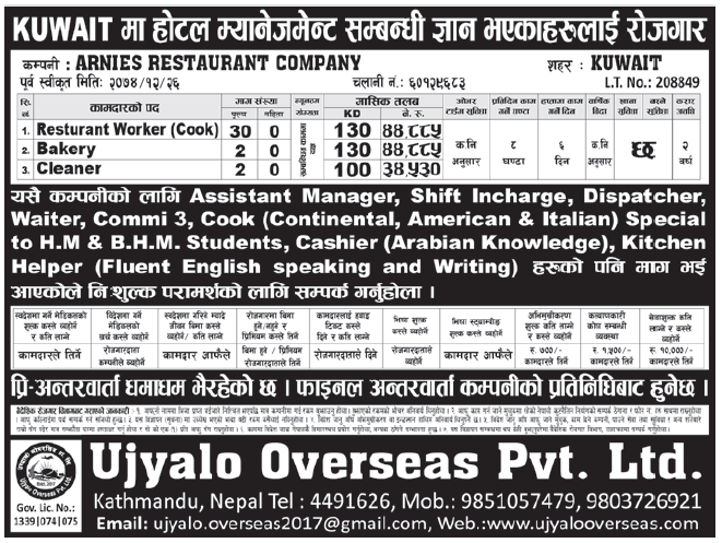 Jobs in Kuwait for Nepali, Salary Rs 44,885