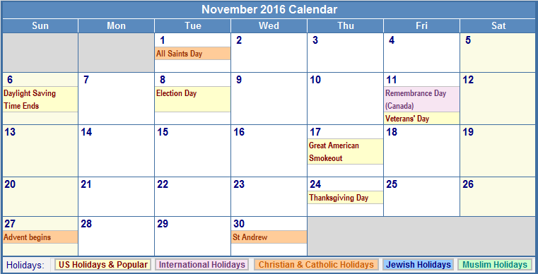 November 2016 Calendar Kids : November printable calendar templates