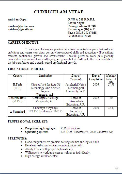 excellent resumes for freshers sample resume format for freshers