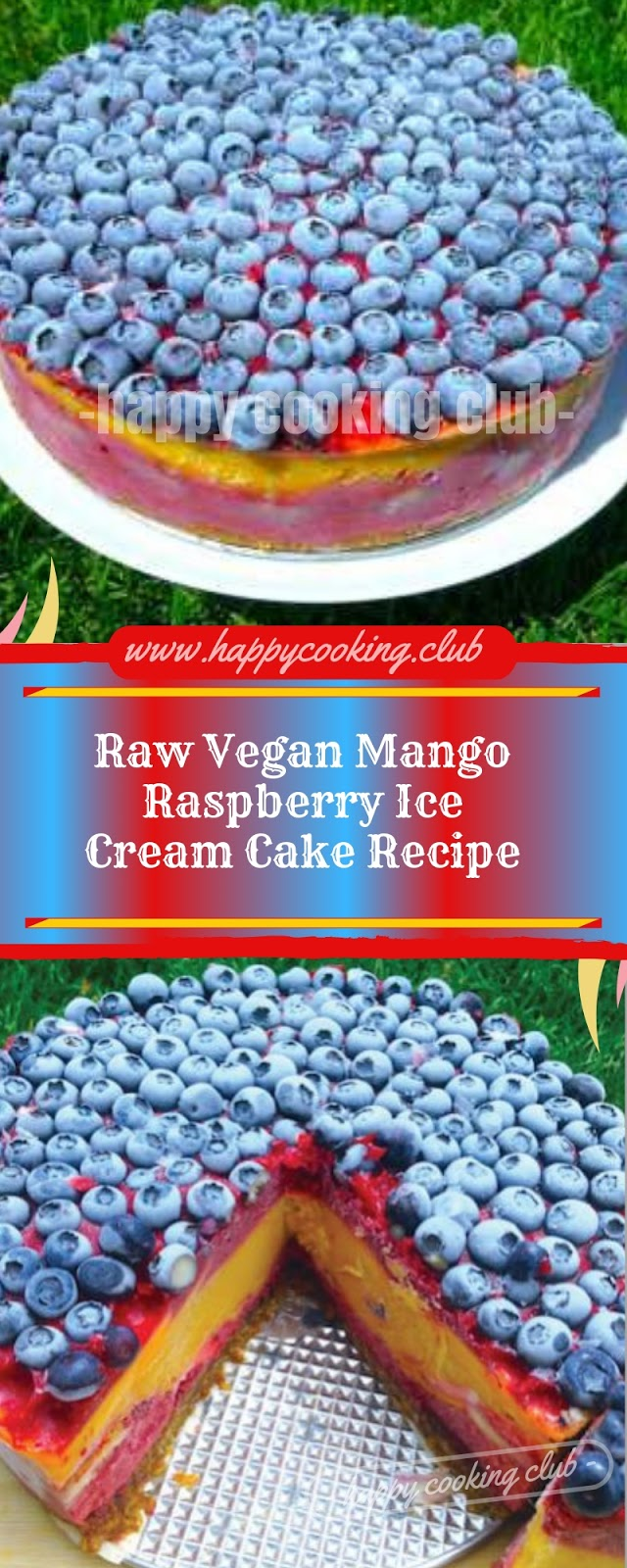 Raw Vegan Mango Raspberry Ice Cream Cake Recipe