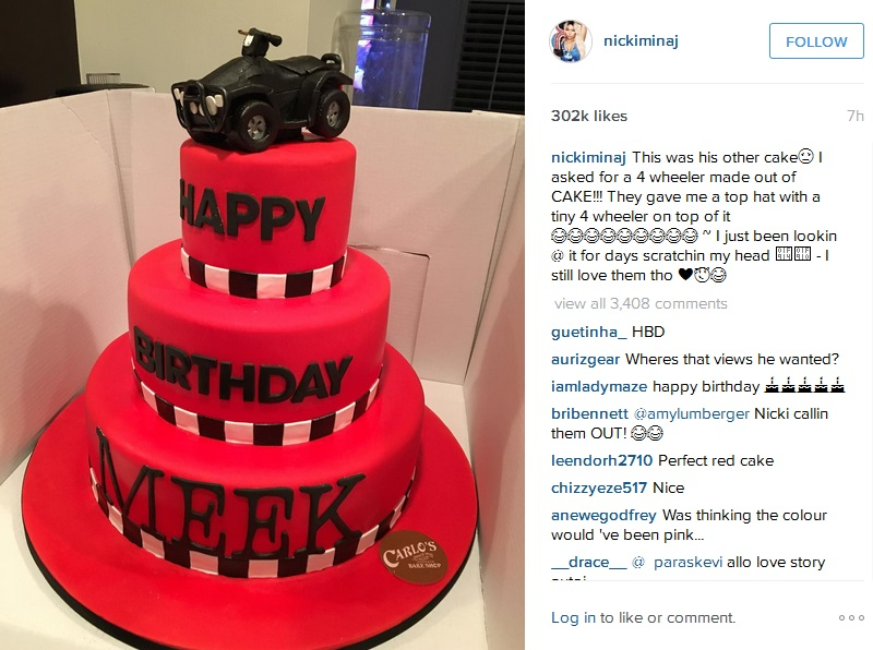 Wondrous Nicki Minaj Gets Shocking Birthday Cake For Her Boyfriend Meek Personalised Birthday Cards Paralily Jamesorg