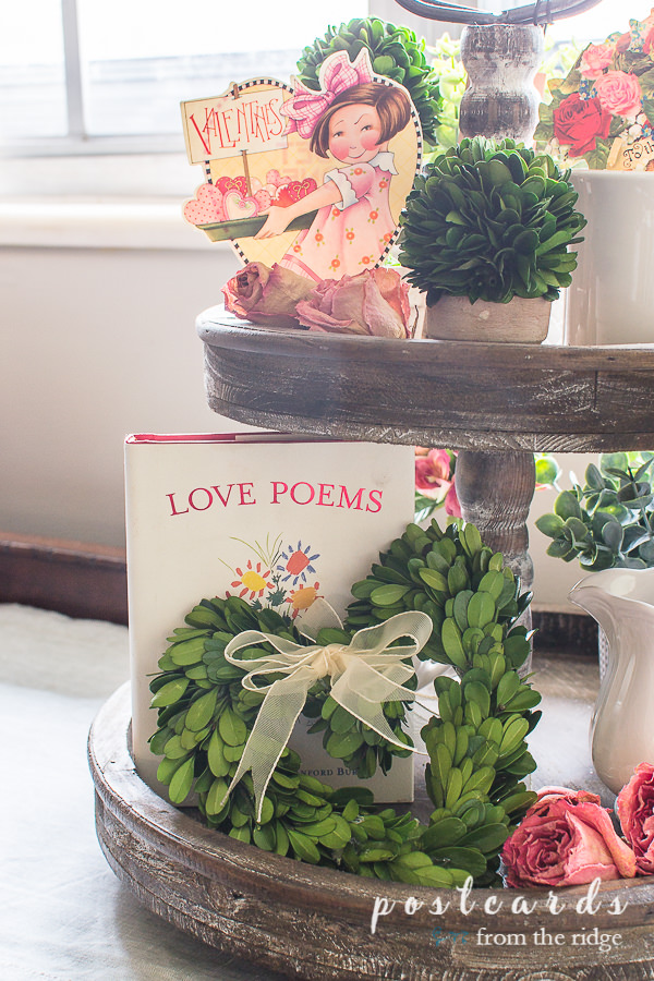 tiered tray with preserved boxwood and Valentine's day decor