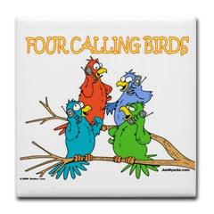 Four Calling Birds Cartoon