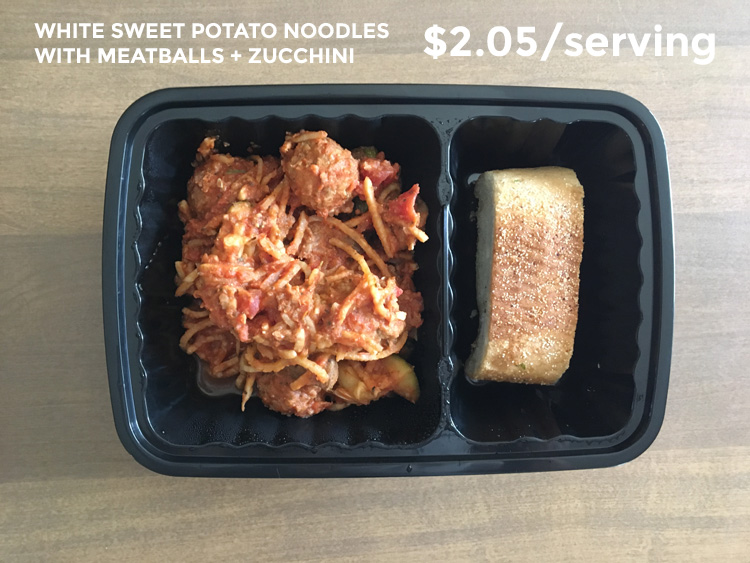 white sweet potato noodles with meatballs and zucchini