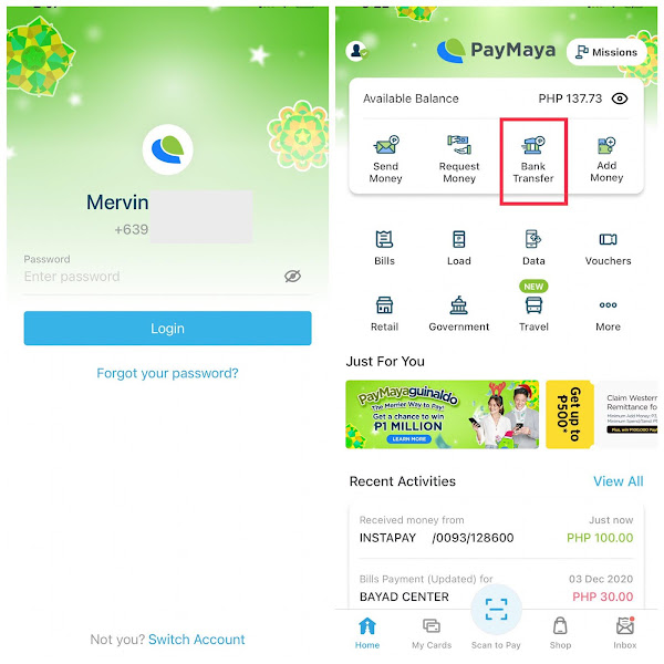 How to Transfer Money or Payments from Paymaya to Gcash Bank Transfer