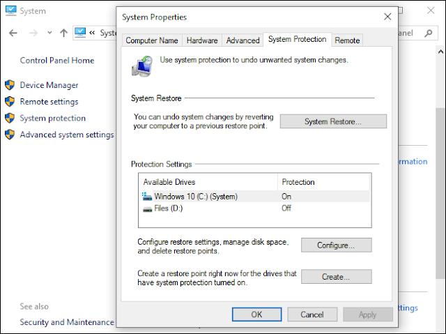 خيارات استعادة النظام على ويندوز 10.