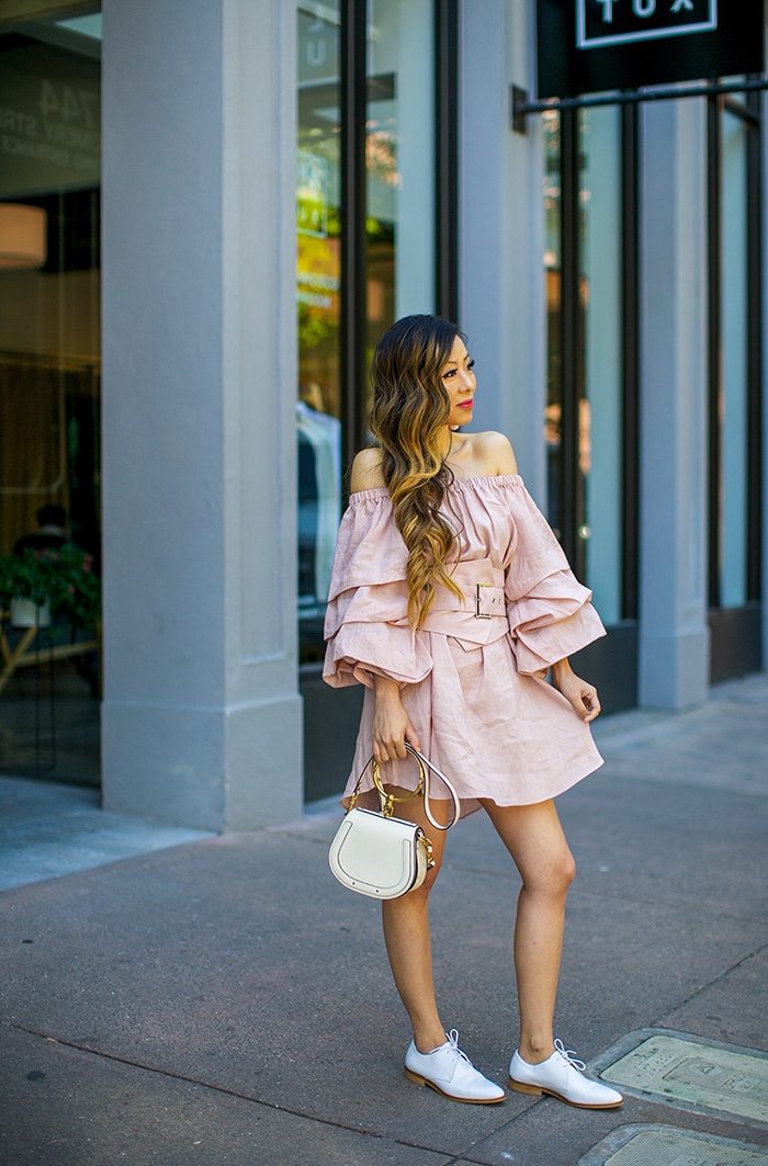 storets Tiered ruffle off shoulder dress, tiered ruffle dress, chloe nile bag, everlane modern oxfords, baublebar drop earrings, san francisco street style, san francisco fashion blog, summer outfit ideas