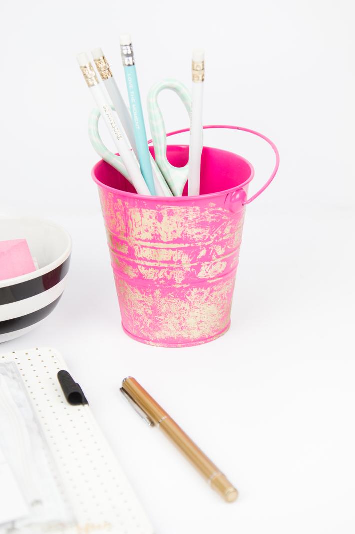 DIY Foil Distressed Pail by @createoften