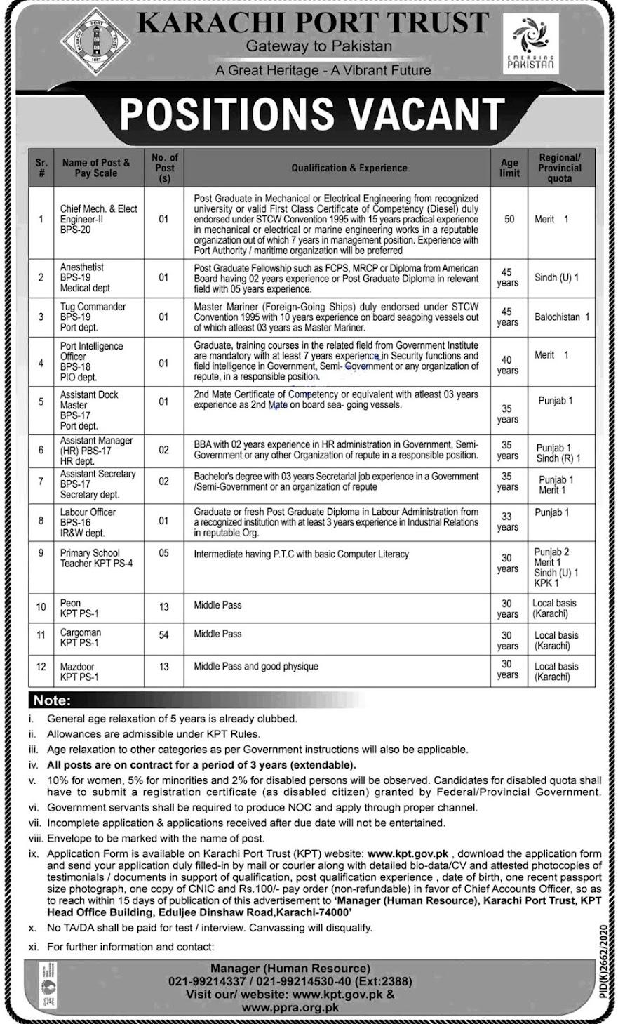 Latest Jobs in Karachi Port Trust KPT 2021