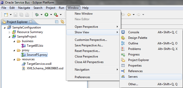 OSB Eclipse Debugger Server View