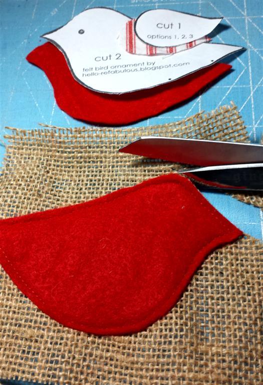 Tecido, feltro e enforcamento Natal ornamento, pássaro vermelho tutorial via refabulous