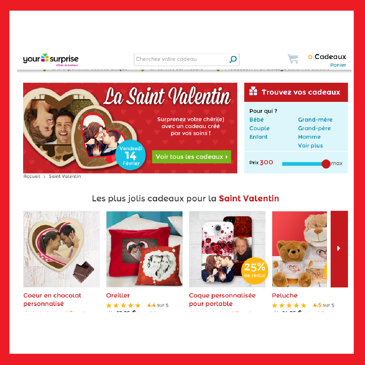 Des cadeaux pour la Saint Valentin personnalisés avec photos