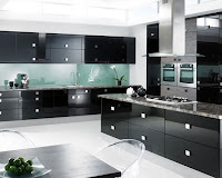 Black Pine Cabinets and Countertops with White Ceramic Floor Kitchen Design