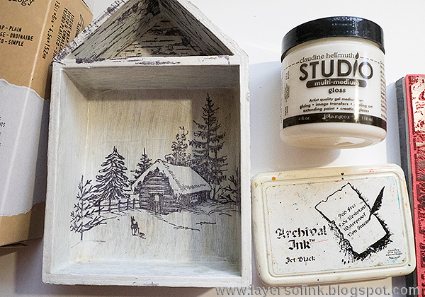Layers of ink - Deer Winter Shadow Box Tutorial by Anna-Karin with Tim Holtz idea-ology embellishments.