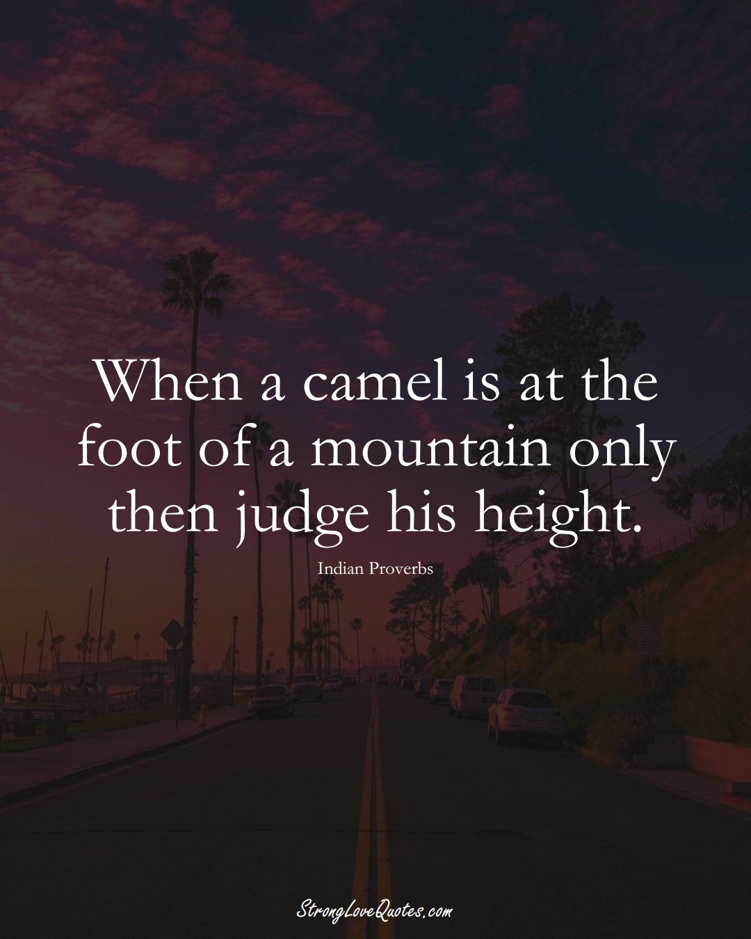 When a camel is at the foot of a mountain only then judge his height. (Indian Sayings);  #AsianSayings