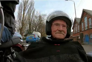 Jack in an old motorbike