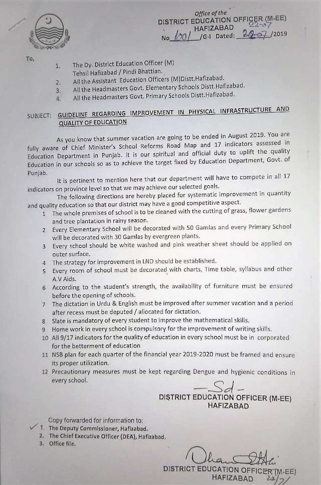 GUIDELINES REGARDING IMPROVEMENT IN PHYSICAL INFRASTRUCTURE AND QUALITY OF EDUCATION IN SCHOOL OF DISTRICT HAFIZABAD