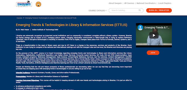 Emerging Trends & Technologies in Library & Information Services (ETTLIS): Online Course