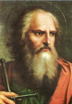 Cara de San Pablo con larga barba empuñando una espada en la mano derecha