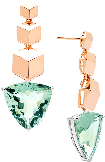 Paolo Costagli 18ct rose gold Brillante earrings with green amethyst pendants #brilliantluxury