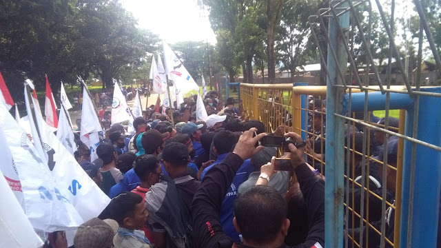 Ratusan Buruh DPC F SBSI Kampar Geruduk Kantor PT Padasa Enam Utama