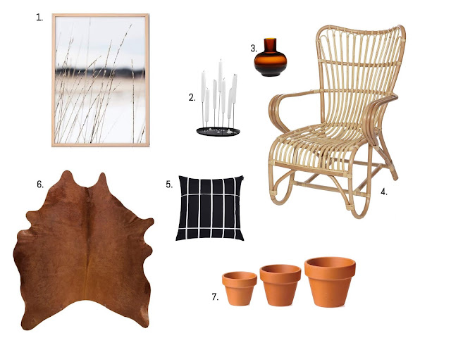 brown in interior - rattain chair - neo candle holder - wooden picture frames - scandinavian design - scandinavian home interior
